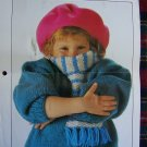 USA 1 Cent S&H  Vintage Knitting Pattern Childrens Sweater With Knitted In Scarf
