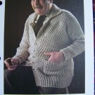 S&H 1 Cent USA Vintage Knitting Mens BIg & Tall Multi Stitch Sweater Jacket Pattern