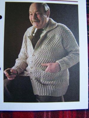 S&H 1 Cent USA Vintage Knitting Mens BIg & Tall Multi Stitch Sweater Jacket Pattern