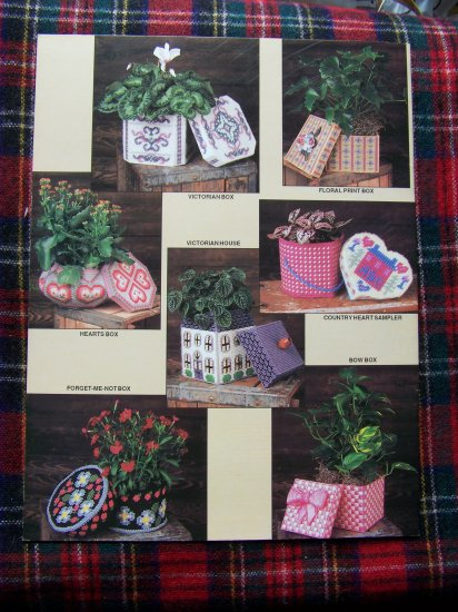 Annie's Attic Plastic Canvas Patterns Pretty Plant Pot Covers Decorative Boxes # 1