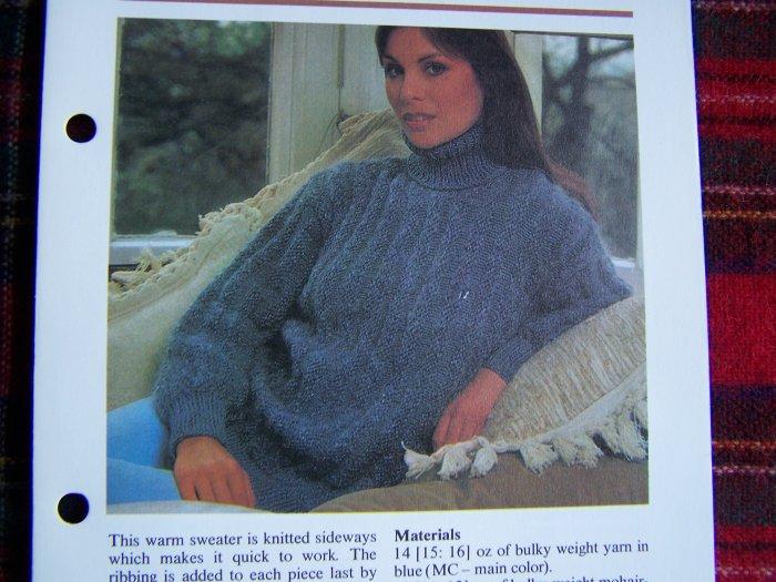 1 Cent USA S&H Misses Vintage Knitting Pattern Turtleneck Sweater Knitted Sideways