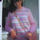 1 Cent USA S&H Vintage Knitting Pattern Easy Fluffy Striped Sweater Misses