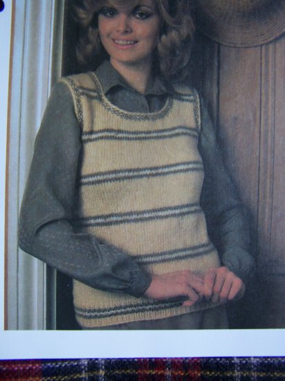 S&H 1 Cent USA Vintage Knitting Pattern Misses Striped Tank Top Knitted Sweater
