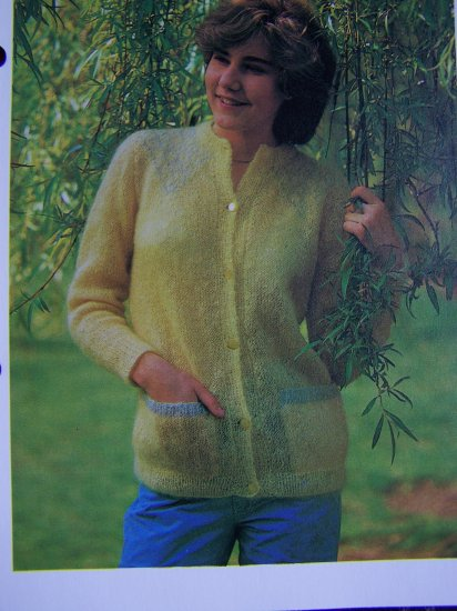 USA 1 Cent S&H Vintage Knitting Pattern Easy Misses Featherweight Cardigan Sweater