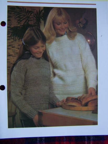 Vintage Knitting Patterns Mother Daughter Son Pullover Sweaters USA 1 Cent S&H