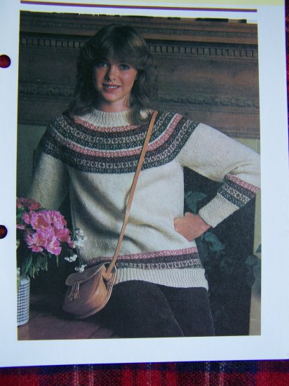 USA 1 Cent Shipping Vintage 80's Easy Misses Fairisle Knitting Sweater Pattern