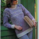1 Penny USA S&H Misses Bulky Two Tone Sweater Vintage Knitting Pattern