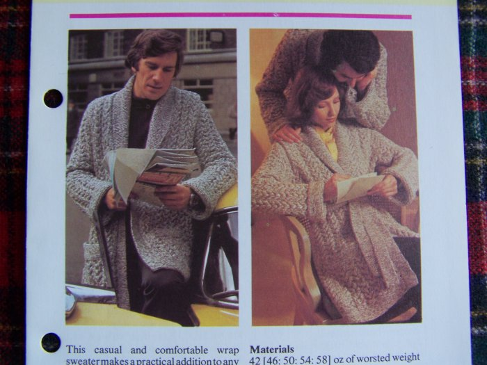 1 Cent USA S&H His Hers Wrap Sweater Vintage Knitting Pattern