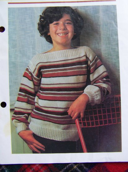 USA 1 Cent S&H > 1.99 < patterns Vintage Knitting Pattern Boat Neck Knit Sweaters