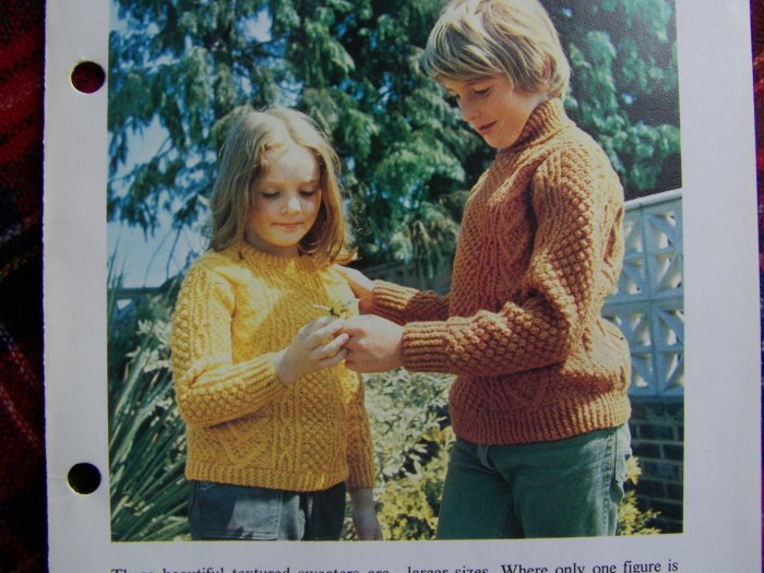 S&H 1 Cent USA Vintage Knitting Pattern Aran Sweaters For Children Boys Girls