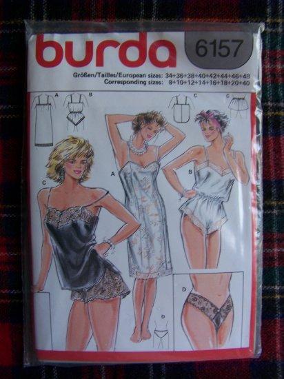 Misses Burda Sewing Pattern 6157 Lingerie Teddy Slip Camisole Panties Panty Set