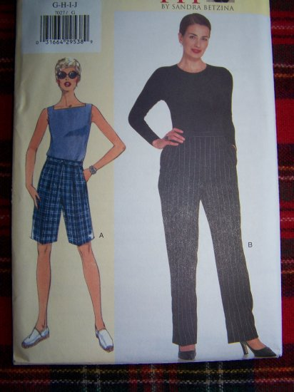 Vogue Sewing Pattern 7027 Today's Fit Lined Straight legged SHorts or Pants Sz G H I J