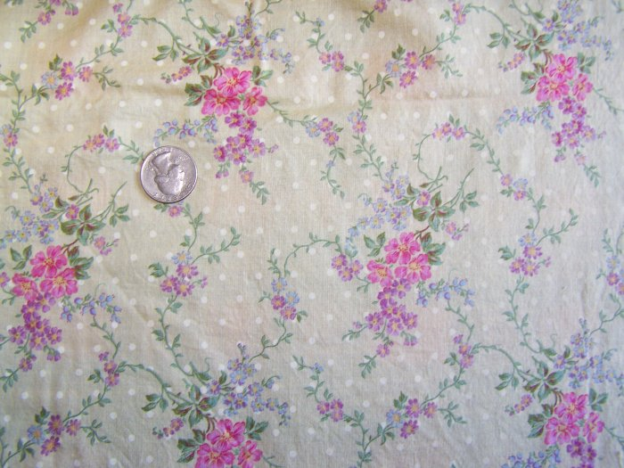 Vintage London Collection Cotton Fabric By Rose Hubble Yellow with White Polka Dot & Floral