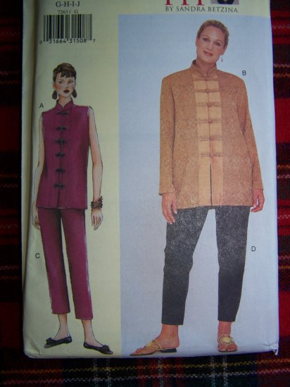 Plus Size Women's Today's Fit Sewing Pattern 7263 Sz G H I J Oriental Top and Pants