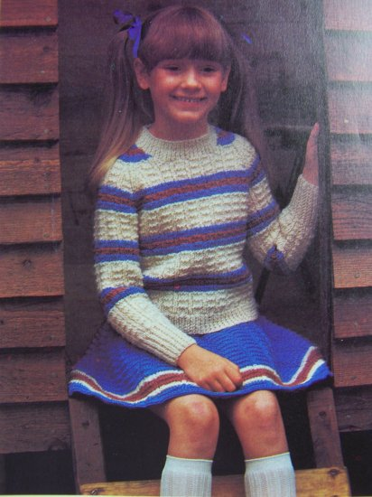 USA 1 Cent S&H Girls Vintage Knitting Pattern Ice Skating Twirl Skirt and Sweater