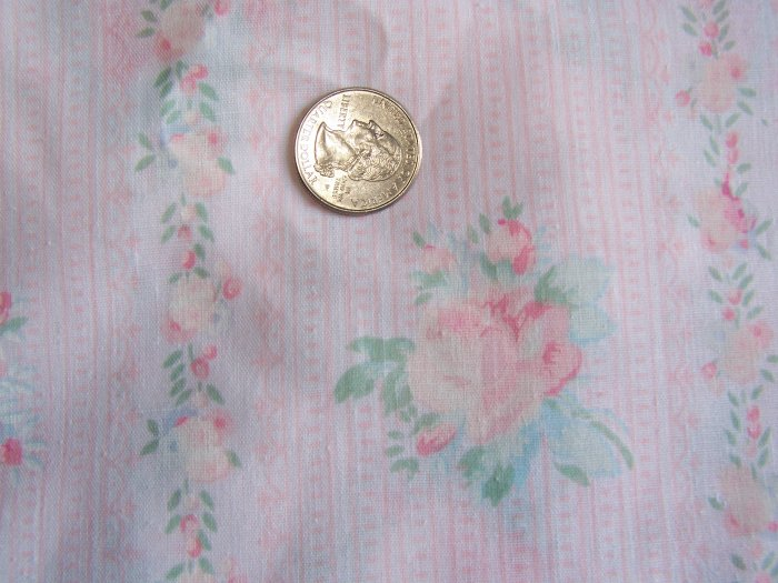 Shabby Vintage Cotton Fabric Rose Trellis Ticking Pink Dots Country Cottage
