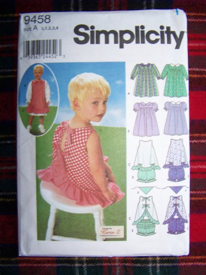 Girls Sewing Pattern 9458 Toddlers Dress Pinafore Panties Scarf Sz 1/2 1 2 3 4