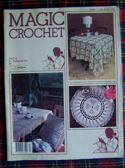 1980's Vintage Magic Crochet Pattern Magazine 17 Doily Bedspread Table