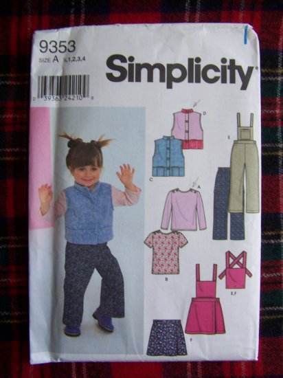 Girls Simplicity Sewing Pattern 9353 Sz 1/2 1 2 3 4 Toddlers Vest Pants Skirt Top