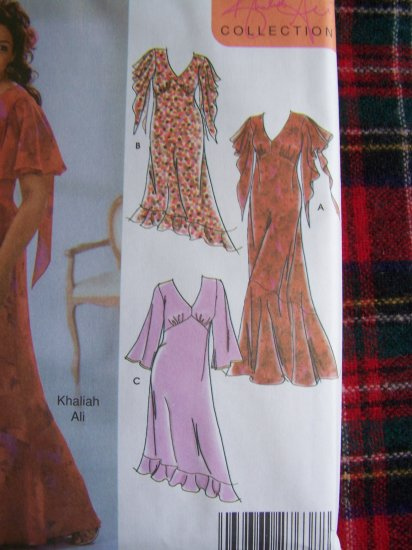 Womens Khaliah Ali Plus Size Sewing Pattern 5110 Flowing Dress Evening Gown 26 28 30 32