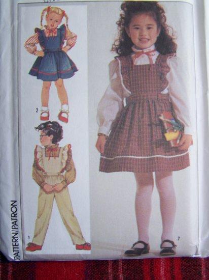 80's Vintage Girls Sewing Pattern 7011 Long Slv Blouse Jumper Dress Overalls 5 6 6X