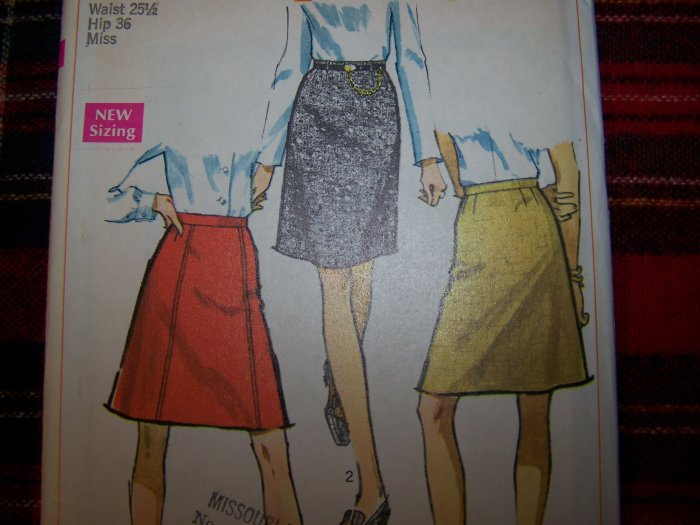 USA 1 Cent S&H Vintage 1960's Sewing Pattern A Line or Straight SKirt 7995