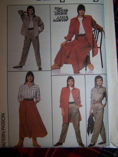 80's Vintage Simplicity 8198 Go Everywhere Wardrobe Sewing Pattern Sz 8 10 12