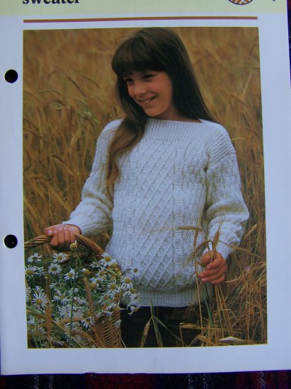 USA 1 Cent S&H Child's Aran Style knitted Sweater Knitting Pattern