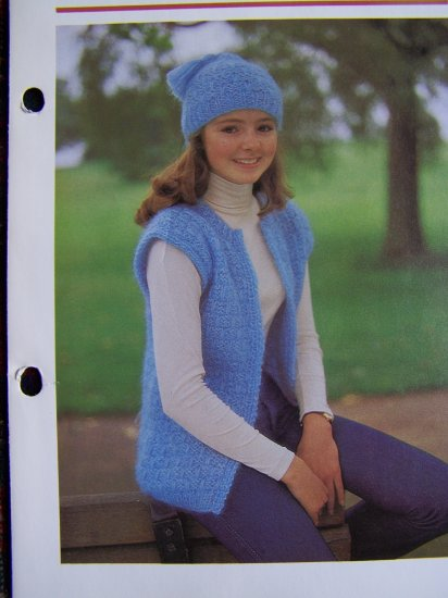 1 Penny USA S&H Girls Knitted Vest and Winter Tassel Hat Knitting Pattern