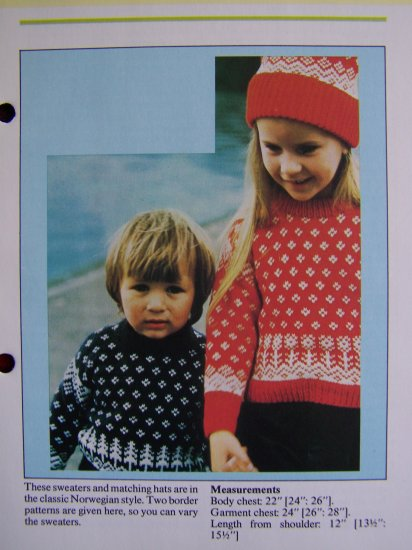 USA 1 Cent S&H Vintage Knitting Patterns Childrens Norwegian Style Sweaters & Hats