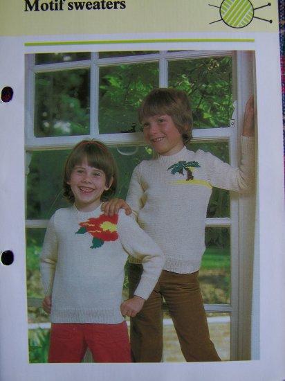 Childs Palm Tree FLower Motif Sweaters Knitting Patterns USA 1 Cent Shipping