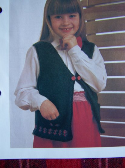 USA 1 Cent S&H Girls Knitted Patterned Vest Sweater Knitting Pattern