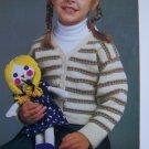 1 Cent S&H USA Vintage Girls Striped Cardigan Sweater Knitting pattern