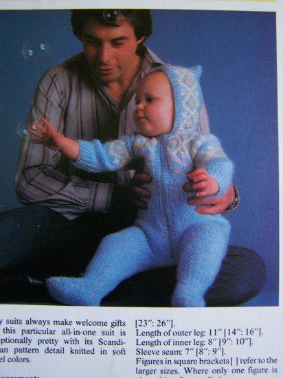 USA 1 Cent S&H Vintage Knitting Pattern Scandinavian Baby Pram Suit
