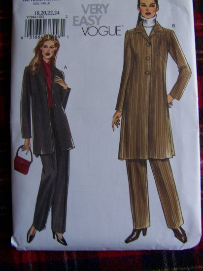 USA 1 Cent S&H Vogue 7944 Plus Size Sewing Pattern 18 20 22 24 Unlined Short or Long Jacket Slacks