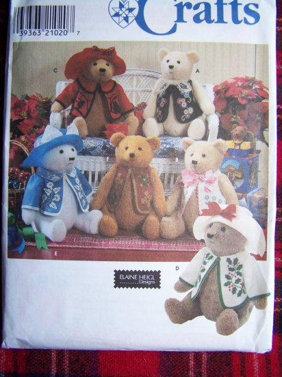 """Simplicity Crafts Sewing Pattern 7895 18"""" Plush Stuffed Bear Doll and Clothes"""