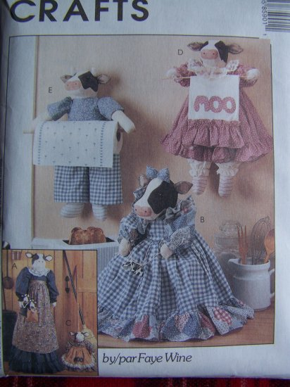 McCall's Crafts Sewing Pattern 8590 Cow Vacuum Toaster Broom Cover Towel Holder
