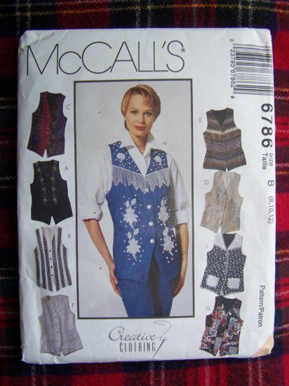 USA 1 Cent S&H McCall's Sewing Pattern 6786 Set of Vest Patterns Sz 8 10 12