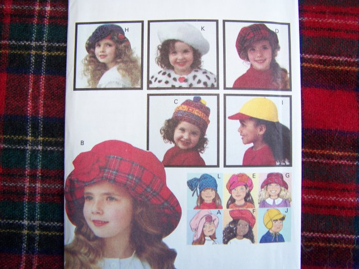 Butterick 6943 Girls Hat Patterns 8 Different Hats Sewing Pattern S M L