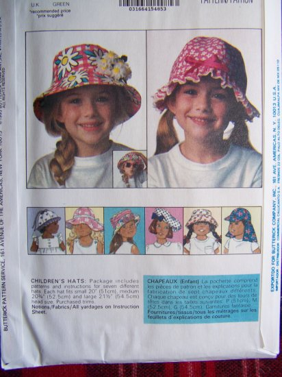 USA 1 Cent S&H  7 Girls S M L Hat Patterns Summer Hats Butterick Sewing Pattern 6614