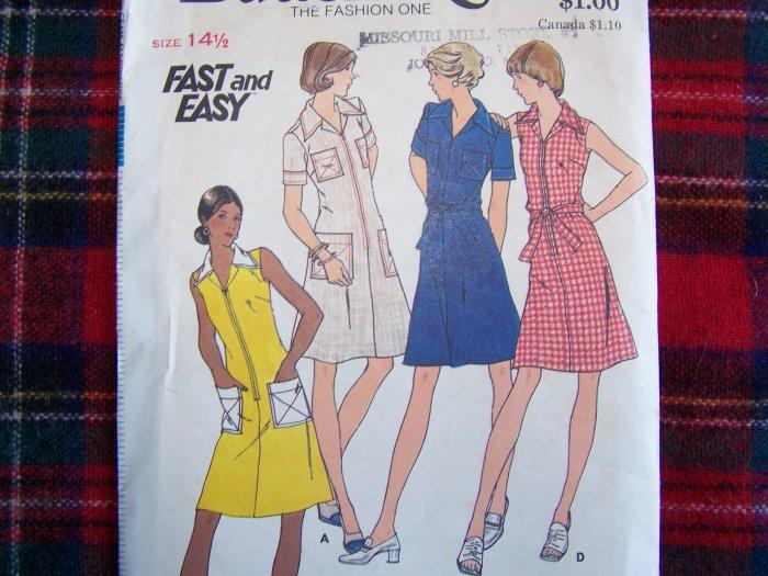 1 Cent S&H USA 1970's Vintage Butterick Sewing Pattern 3559 Half Size A Line Dress 14 1/2
