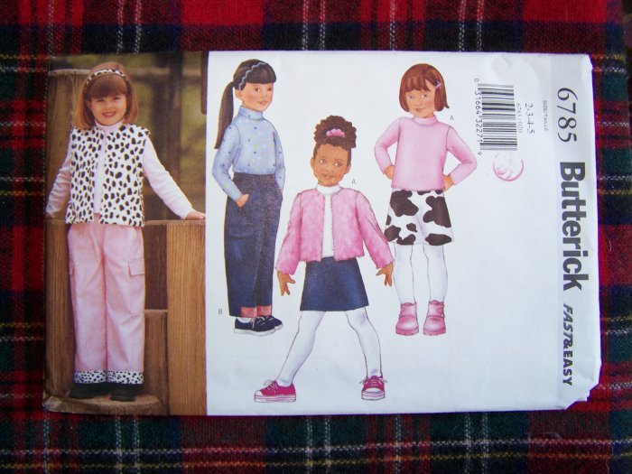 Children's Butterick Sewing Pattern 6785 Winter Jacket Vest Top Skirt Pants Sz 2 3 4 5