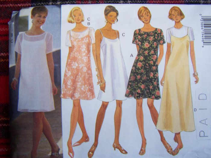 Misses Loose A Line Pullover Dress Sheer Overlay 14 16 18 Sewing Pattern 3493