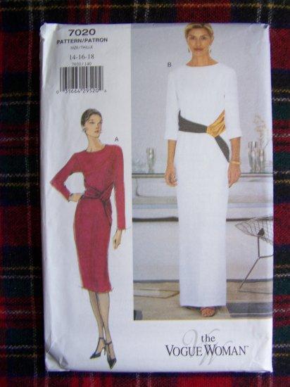Uncut Vogue Sewing Pattern 7020 Cocktail Dress Evening Bias Drape Gown 14 16 18