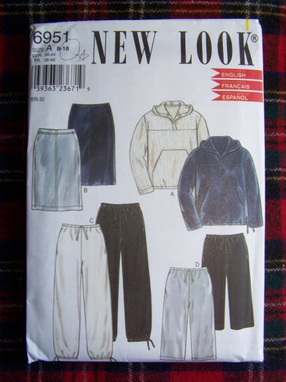 Misses New Look Sewing Pattern 6951 Casual Workout Wardrobe Hoodie Shirt Skirt Pants 8 - 18
