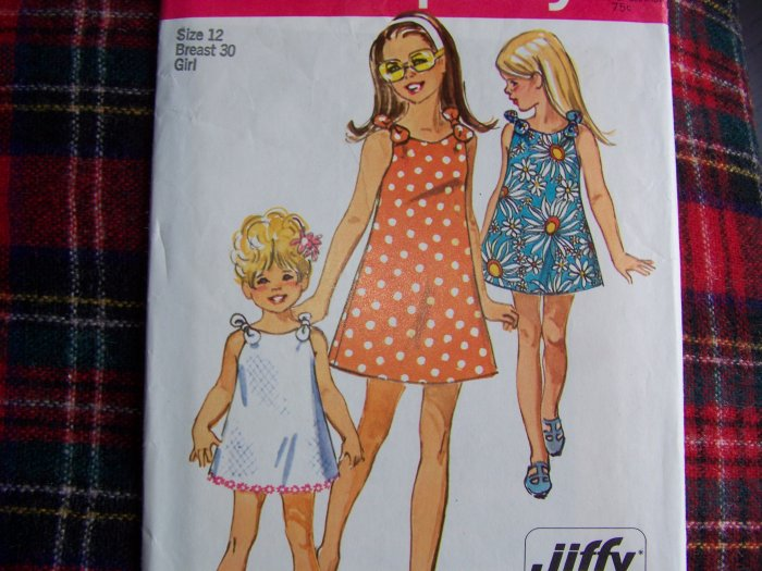 USA 1 Cent S&H Vintage Girls Jiffy Dress Tie Shoulder Sundress Sewing Pattern 8866