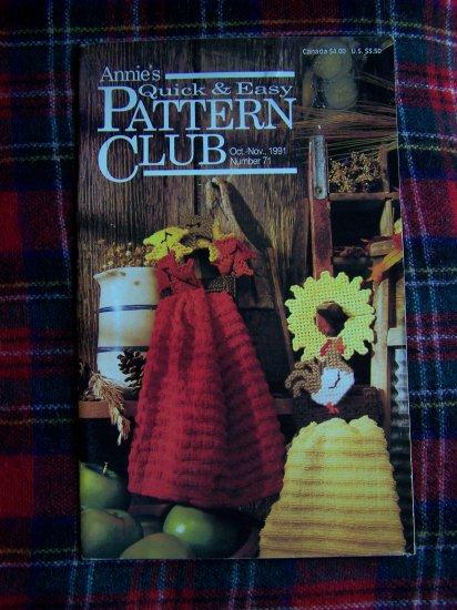 Annie's Quick & Easy Pattern Club Book 71 Oct Nov 1991 Crochet Plastic Canvas X Stitch Knitting