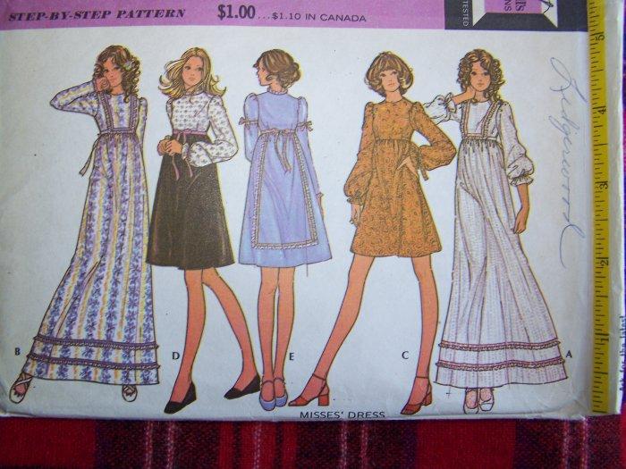 Vintage Hippie Dress Sewing Pattern 3372 Mini Maxi Gown