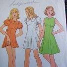 70's Vintage Mini Dress Sewing Pattern 3536 Empire Waist Puffed Sleeves Back Tie B 32.5