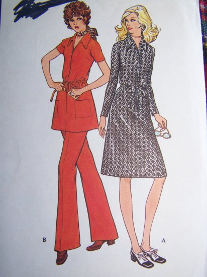 1970's Vintage Zip Front Drawstring Waist Dress Tunic Top Sewing Pattern 2978